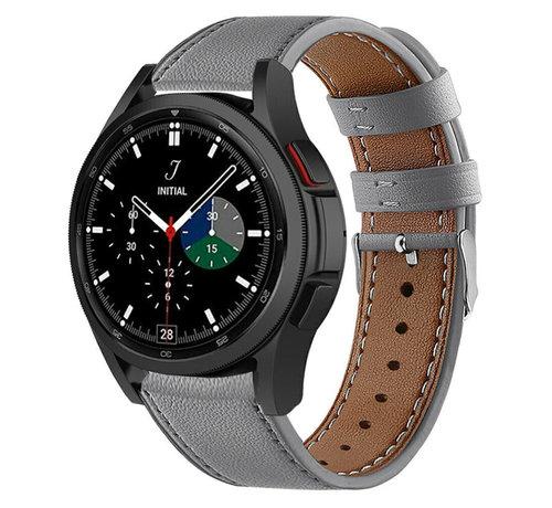 Strap-it® Strap-it® Samsung Galaxy Watch 4 Classic 42mm leren bandje (grijs)