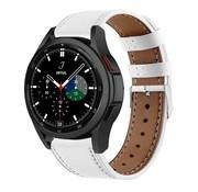 Strap-it® Samsung Galaxy Watch 4 Classic 42mm leren bandje (wit)