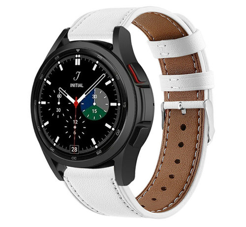 Strap-it® Strap-it® Samsung Galaxy Watch 4 Classic 42mm leren bandje (wit)