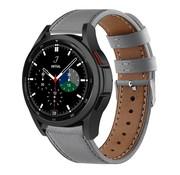 Strap-it® Samsung Galaxy Watch 4 Classic 46mm leren bandje (grijs)
