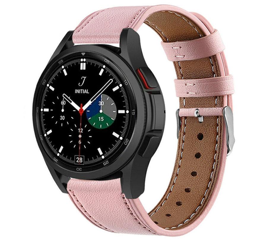 Strap-it® Samsung Galaxy Watch 4 Classic 46mm leren bandje (roze)
