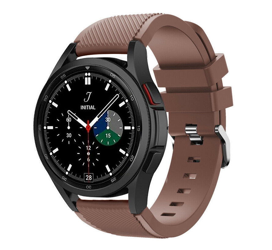 Strap-it Samsung Galaxy Watch 4 Classic 42mm siliconen bandje (koffiebruin)
