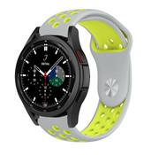 Strap-it® Samsung Galaxy Watch 4 Classic sport band (grijs/geel)