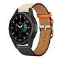 Strap-it® Samsung Galaxy Watch 4 Classic leren bandje (wit/donkerblauw)