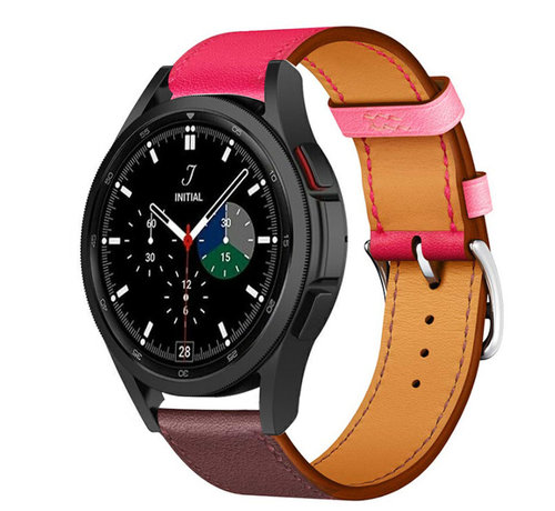 Strap-it® Strap-it® Samsung Galaxy Watch 4 Classic leren bandje (knalroze/roodbruin)