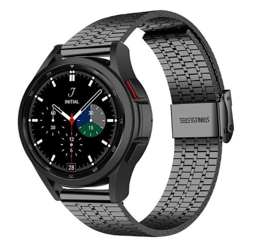 Strap-it® Samsung Galaxy Watch 4 Classic roestvrij stalen band (zwart)