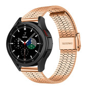 Strap-it® Samsung Galaxy Watch 4 Classic roestvrij stalen band (rosé goud)