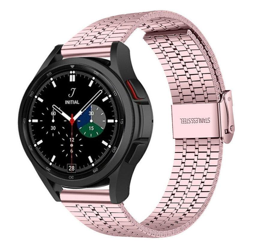 Strap-it® Samsung Galaxy Watch 4 Classic roestvrij stalen band (rosé pink)