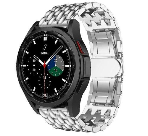 Strap-it® Strap-it® Samsung Galaxy Watch 4 Classic stalen draak bandje (zilver)