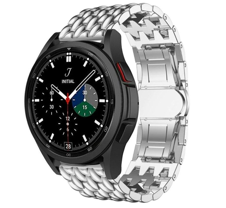 Strap-it® Samsung Galaxy Watch 4 Classic stalen draak bandje (zilver)