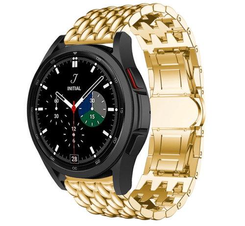 Strap-it® Strap-it® Samsung Galaxy Watch 4 Classic stalen draak bandje (goud)