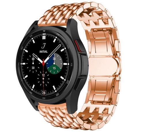 Strap-it® Strap-it® Samsung Galaxy Watch 4 Classic stalen draak bandje (rosé goud)