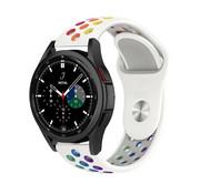 Strap-it® Samsung Galaxy Watch 4 Classic sport band (wit/kleurrijk)