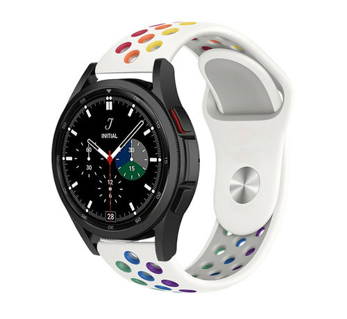 Strap-it® Strap-it® Samsung Galaxy Watch 4 Classic sport band (wit/kleurrijk)