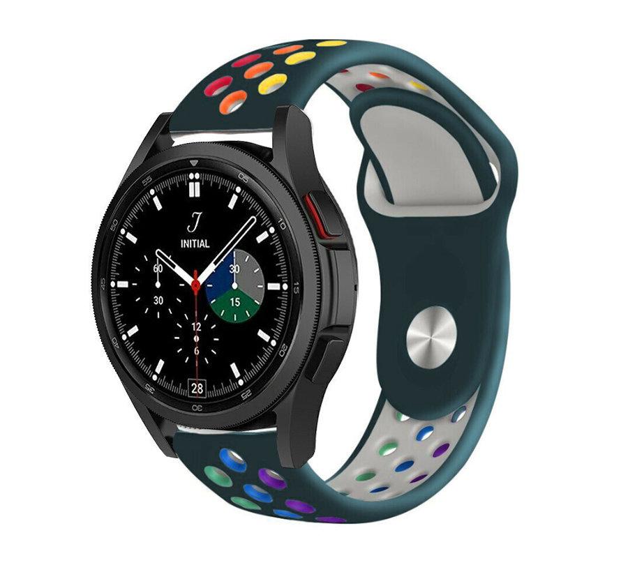Strap-it® Samsung Galaxy Watch 4 Classic sport band (dennengroen/kleurrijk)