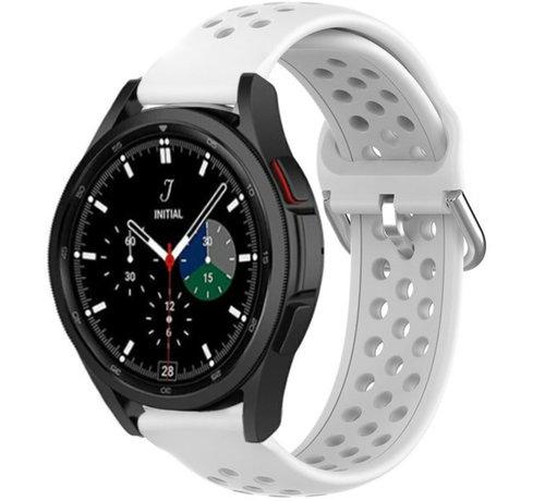 Strap-it® Strap-it® Samsung Galaxy Watch 4 Classic siliconen bandje met gaatjes (wit)