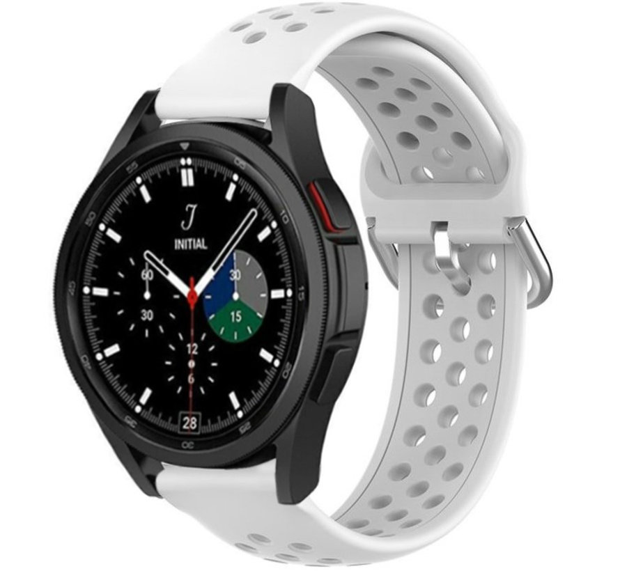 Strap-it® Samsung Galaxy Watch 4 Classic siliconen bandje met gaatjes (wit)