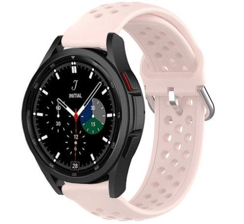 Strap-it® Strap-it® Samsung Galaxy Watch 4 Classic siliconen bandje met gaatjes (roze)