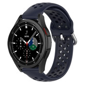 Strap-it® Samsung Galaxy Watch 4 Classic siliconen bandje met gaatjes (donkerblauw)