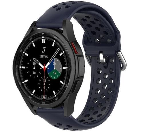 Strap-it® Strap-it® Samsung Galaxy Watch 4 Classic siliconen bandje met gaatjes (donkerblauw)