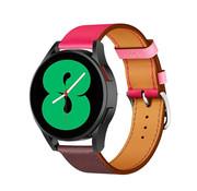 Strap-it® Samsung Galaxy Watch 4 leren bandje (knalroze/roodbruin)