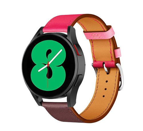 Strap-it® Strap-it® Samsung Galaxy Watch 4 leren bandje (knalroze/roodbruin)