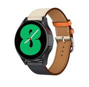 Strap-it® Samsung Galaxy Watch 4 leren bandje (wit/donkerblauw)