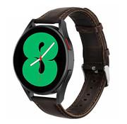 Strap-it® Samsung Galaxy Watch 4 leren bandje (donkerbruin)