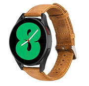 Strap-it® Samsung Galaxy Watch 4 leren bandje (bruin)