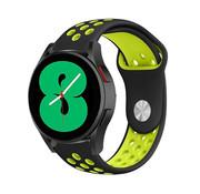 Strap-it® Samsung Galaxy Watch 4 - 44mm sport band (zwart/geel)