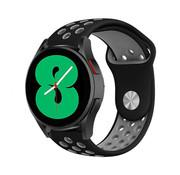 Strap-it® Samsung Galaxy Watch 4 - 44mm sport band (zwart/grijs)