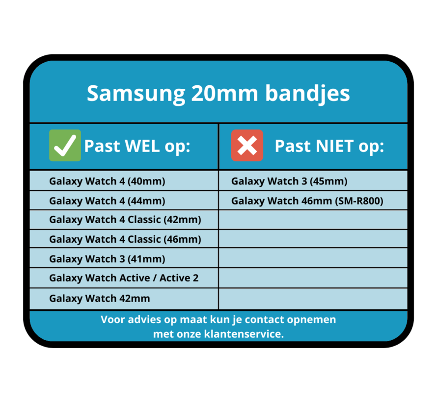 Strap-it® Samsung Galaxy Watch 4 - 40mm nylon band (zwart)