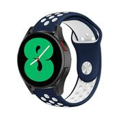 Strap-it® Samsung Galaxy Watch 4 - 44mm sport band (blauw/wit)