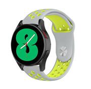 Strap-it® Samsung Galaxy Watch 4 - 44mm sport band (grijs/geel)