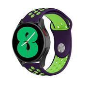 Strap-it® Samsung Galaxy Watch 4 - 44mm sport band (paars/groen)