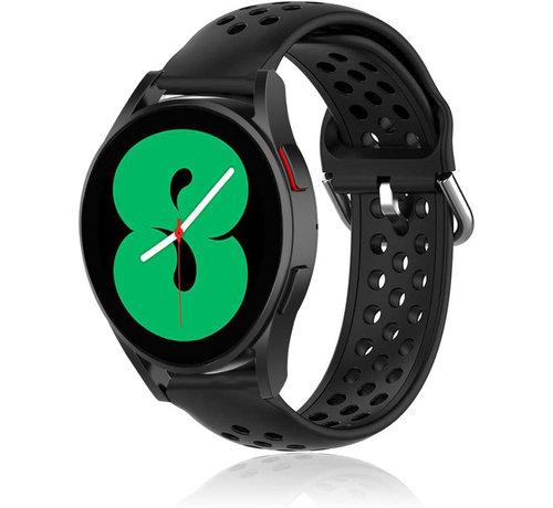 Strap-it® Strap-it® Samsung Galaxy Watch 4 siliconen bandje met gaatjes (zwart)