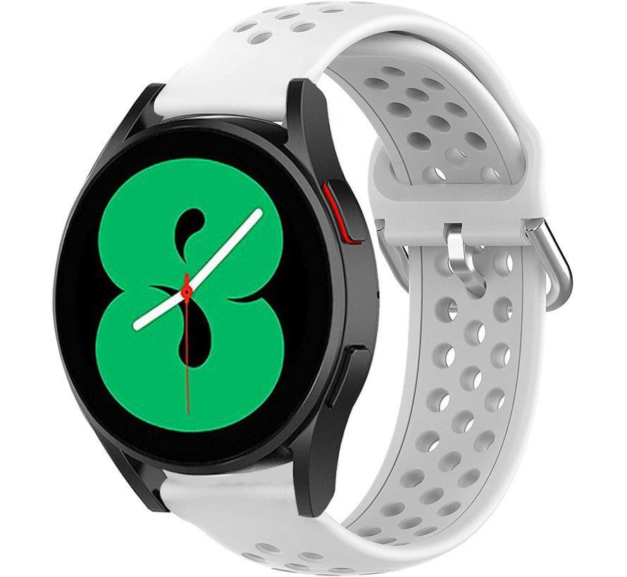 Strap-it® Samsung Galaxy Watch 4 siliconen bandje met gaatjes (wit)