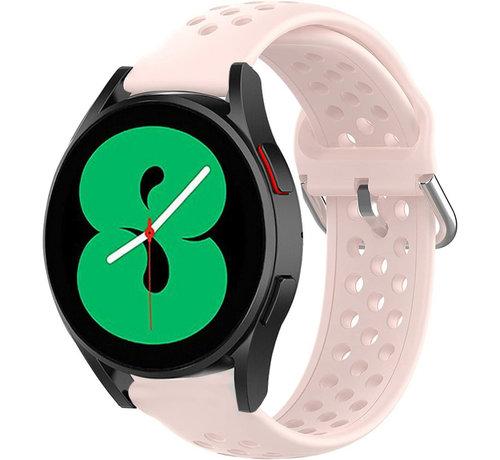 Strap-it® Strap-it® Samsung Galaxy Watch 4 siliconen bandje met gaatjes (roze)