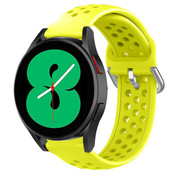 Strap-it® Samsung Galaxy Watch 4 siliconen bandje met gaatjes (geel)