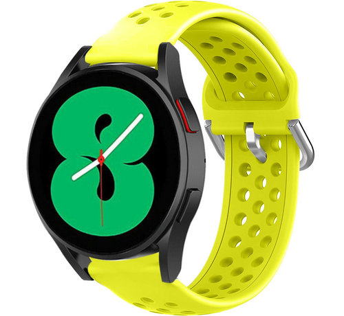 Strap-it® Strap-it® Samsung Galaxy Watch 4 siliconen bandje met gaatjes (geel)