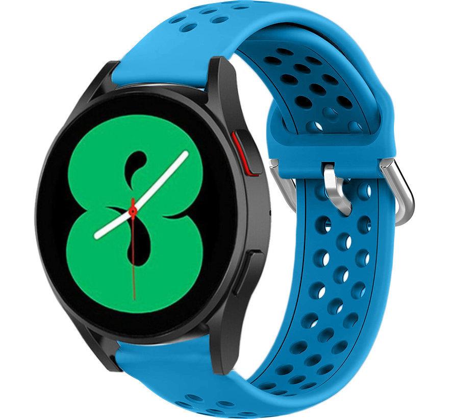 Strap-it® Samsung Galaxy Watch 4 siliconen bandje met gaatjes (lichtblauw)