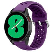 Strap-it® Samsung Galaxy Watch 4 siliconen bandje met gaatjes (paars)