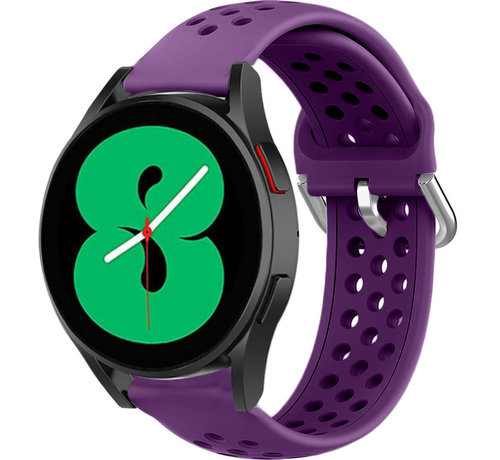 Strap-it® Strap-it® Samsung Galaxy Watch 4 siliconen bandje met gaatjes (paars)