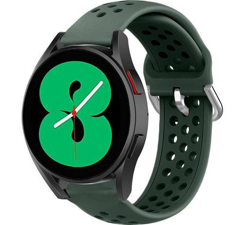 Strap-it® Strap-it® Samsung Galaxy Watch 4 siliconen bandje met gaatjes (legergroen)