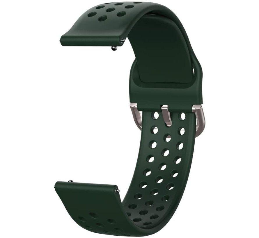 Strap-it® Samsung Galaxy Watch 4 siliconen bandje met gaatjes (legergroen)
