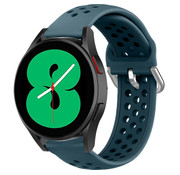 Strap-it® Samsung Galaxy Watch 4 siliconen bandje met gaatjes (rock green)