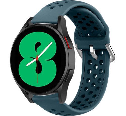 Strap-it® Strap-it® Samsung Galaxy Watch 4 siliconen bandje met gaatjes (rock green)
