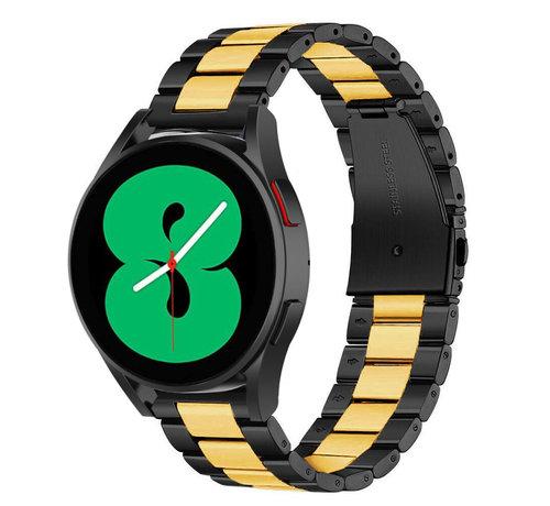 Strap-it® Strap-it® Samsung Galaxy Watch 4 - 40mm stalen band (zwart/goud)