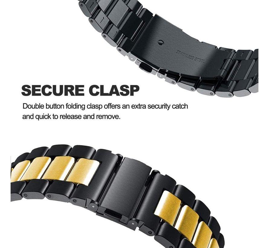 Strap-it® Samsung Galaxy Watch 4 - 40mm stalen band (zwart/goud)
