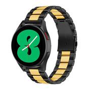 Strap-it® Samsung Galaxy Watch 4 - 44mm stalen band (zwart/goud)